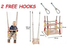 BABY TODDLER WOODEN BUCKET SAFETY SWING FOR CLIMBING FRAME PLAYHOUSE 2FREE HOOKS