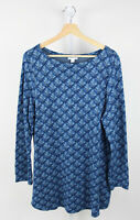 J. JILL Geo Floral Ponte Knit Tunic Top Boat Neck Long Sleeve Top Viscose Blue L