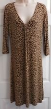 Women's Ann Taylor Loft Dress Stretch Brown Animal Print Jersey Knit V-Neck 10