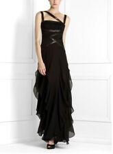 $598 BCBG BLACK (SIL6L081) RUFFLED SEQUINED STRAP SILK LONG GOWN DRESS NWT 2