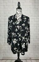 Charter Club women's stretch knit size xl floral print top 3/4 sleeves b16a