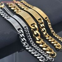 8/10/15mm Silver/Gold 316L Stainless Steel Curb ID Chain Bracelet Mens Jewelry
