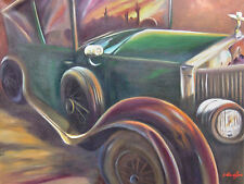 Original Oil Painting of Antique Car Rolls Royce With Sunset Reflection, Framed