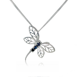 Sapphire Dragonfly Necklace Blue 0.3ct 18''Chain Rhodium Plated Sterling Silver