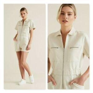 SEED HERITAGE Womens Size 8 Oyster Colour Denim Romper RRP$139.95