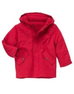 GYMBOREE SNOW CHILLIN' RED HOODED LINED JACKET COAT 3 4 5 6 7 8 10 12 NWT