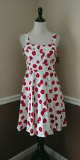 Pinup Cherry Dress L White Cherries Flare Fold-Over Bodice Modcloth Ixia Retro