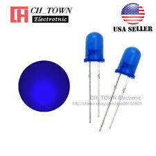 100pcs 5mm Diffused Blue-Blue Round Top LED F5 DIP Light Emitting Diodes USA
