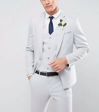 BRANDED WEDDING Skinny Suit Jacket With Square Hem In Grey Chest 36in Reg