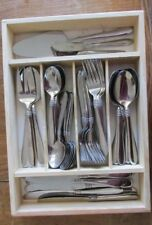 Oneida 80 Piece Set Banbury Stainless Flatware Service For 12+ W/Wooden Caddy