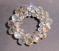 Vtg Silver Tone Clear Rhinestone Crystal Round AB Demi Parure Beaded Brooch Pin