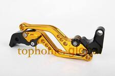 For KAWASAKI ZX10R 2006-2015 Short Clutch Brake Levers Gold CNC Adjustable 14 13
