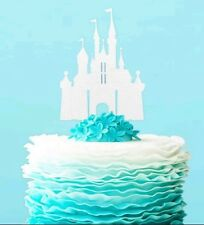 princess disney cinderella fairy castle cake topper  wedding silver glitter x1