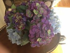 NDI Floral Assorted Purple and Blue Hydrangeas In Clear Vase with Acrylic Water