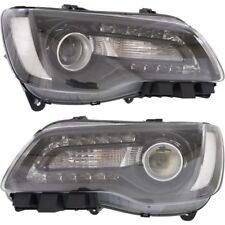 CHRYSLER 300 2015-2016 BLACK HEADLIGHTS HEAD LIGHTS FRONT LAMPS HALOGEN PAIR SET