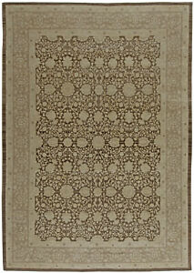 Contemporary T a b r i z Beige and Brown Hand Knotted Wool Rug N10829