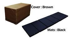 MULTI PURPOSE S.LEATHER MAGIC BOX YOGA GYM CUSHION FOLDABLE MATS BROWN COLOR