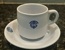 Antique CGT FRENCH LINE Cup Saucer Limoges France Blue Art Deco #3