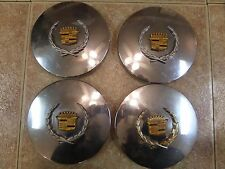 Set of 4 Rare Vintage Gold Leaf OEM Cadillac De Ville Center Cap 95087