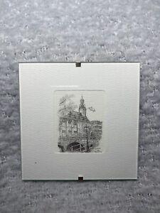 """Reinoud Brandt Pen & Ink Sketch Mini Framed """"Academie Leiden"""" 1997"""