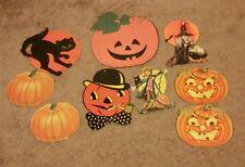 Vintage Halloween Paper Die Cut Decorations Lot of 9 Hallmark Dennison Witch Cat