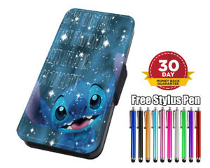 Disney Lilo and Stitch Ohana Flip Leather Phone Case for iPhone Samsung Huawei