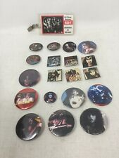 Kiss Army Pin Button Lot 19 Pins Plus Creatures Of The Night Vintage Tour Pass