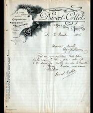 """THIERS (63) MERCERIE / LAINES / BONNETERIE """"DUVERT & COLLET"""" Lettre en 1906"""