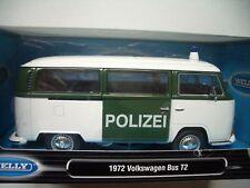 Volkswagen VW Bus T2 ´Polizei´  1972   1:24  Welly  NEU & OVP  Weiß-Grün