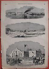 1862 Antique Engravings- Columbus, Kentucky - Fort Brown - Fort Lancaster -Alamo