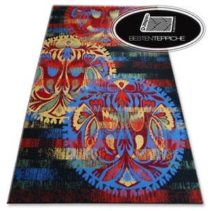 Modern Carpet 'Folk Wool, Black, Yellow Red Fashionable Designs Quality Agnella