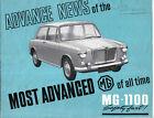 MG 1100 Advance News Aug 1962 Original UK Sales Brochure Pub. No. H&E 62160