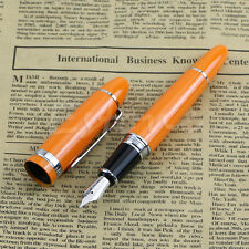 Hot Jinhao 159 Deluxe Steel Orange +Silver Trim Medium Nib Smooth Fountain Pen