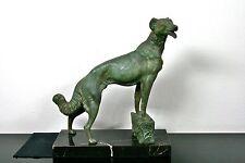 Grandes art deco bronce viento perro L. Carvin Paris