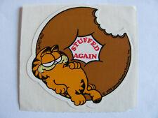 Garfield and Donut Stuffed Again Rare Vintage Sticker - Cartoon