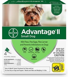 Advantage II For Small Dogs 3-10 lbs, 4 Packs - Free Shipping