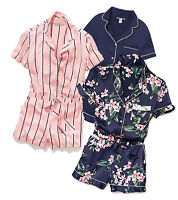 Victoria's Secret Dream Angels Satin Button-front Romper Navy Floral Pink XS M L