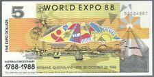 Banknote Australien - World EXPO -  5 Dollar - 1988 - unc