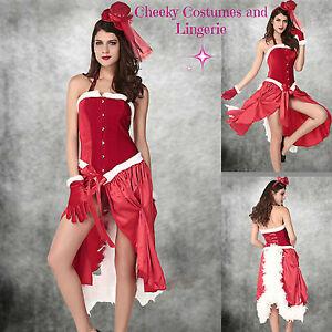 Santa Burlesque Style Christmas Costume Size 10-12