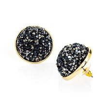 Gold Coloured Black and Hematite Glass Effect Stud Earrings Fashion Jewellery
