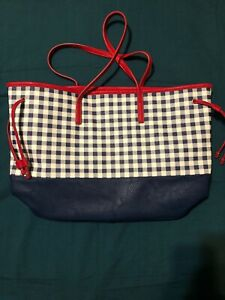 Charming Charlie Women's  Red/Blue Checkered Faux Leather Handbag Purse Bag
