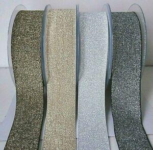 Lurex Elastic 40mm Wide  Metallic Gold /Silver Sparkle-0.5-1 Mtr-FAST DISPATCH