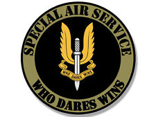 4x4 inch Round SPECIAL AIR SERVICE Who Dares Wins Seal Sticker -british logo sas