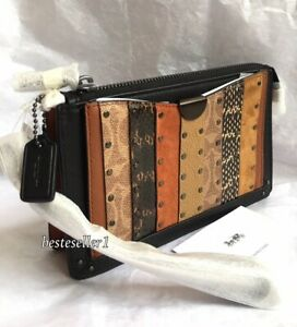 New COACH 85920 Coated Canvas Leather Signature Stripe Dreamer Wristlet Wallet