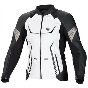 Macna Orient Ladies Motorcycle Leather 3D Mesh Touring Jacket Black/White - SALE