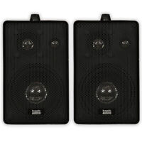 Acoustic Audio 251B Indoor Outdoor 3 Way Speakers 400 Watt Black Pair