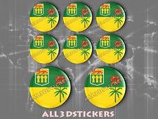 8 x 3D ROUND Stickers Resin Domed Flag Saskatchewan - Adhesive Decal Vinyl