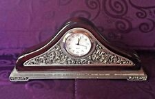 "Napoleon style petite wood with ""pewter"" look mantel clock quartz movement"
