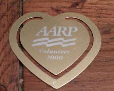 vintage heart-shaped bookmark AARP  VOLUNTEER 2000 Retirement Retired Collector
