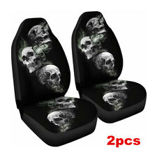2pcs Skull Car Front Seat Cover Polyester Fiber Universal Seat Cushion Protector